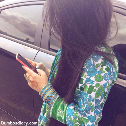 Girl with car and mobile